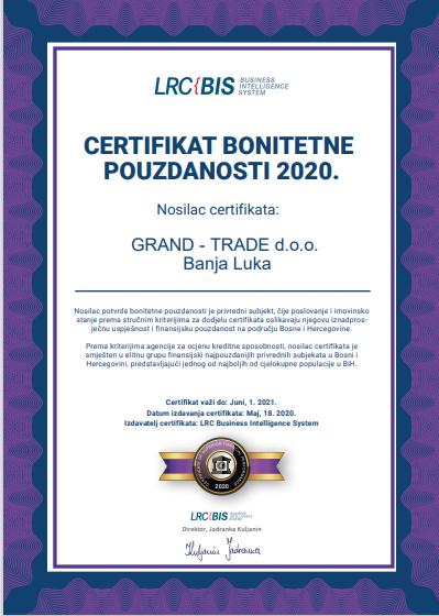 certifikat bonitetne pouzdanosti